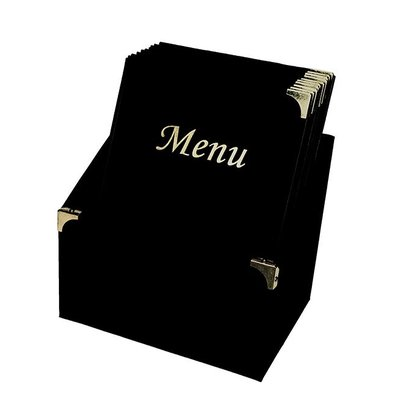 Securit Menü Box mit 10 Menü-Karten-Schwarz Basic. | A4 | 370x290x210mm