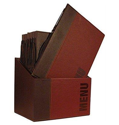 Securit Box incl. 20 Menu Cards Trendy   Bordeaux   Format A4   370x290x210mm
