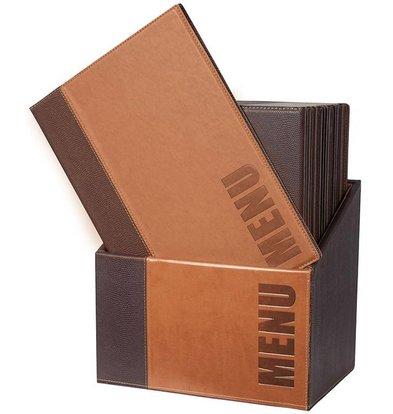 Securit Box incl. 20 Menu Cards Trendy   Light brown   Format A4   370x290x210mm