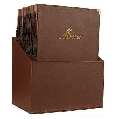 Securit Box incl. 20 Menukaarten Classic | Bruin | Formaat A4 | 370x290x210mm