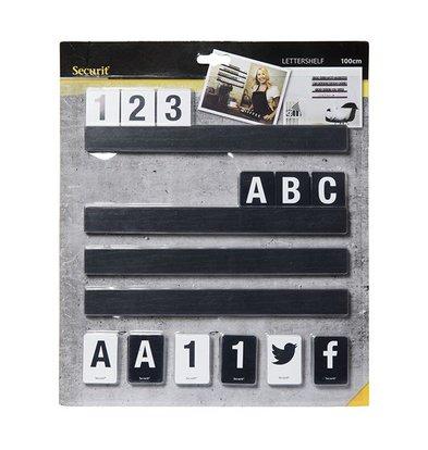 Securit Briefeinwurfset Schwarz | Incl Buchstaben und Zahlen. | 1m Regal