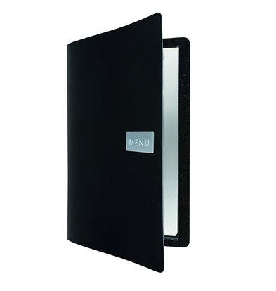 Securit Leather Menu Royal | Black | A4 format