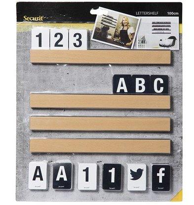 Securit Brief-Platte Teak | Incl Buchstaben und Zahlen. | 1m Regal