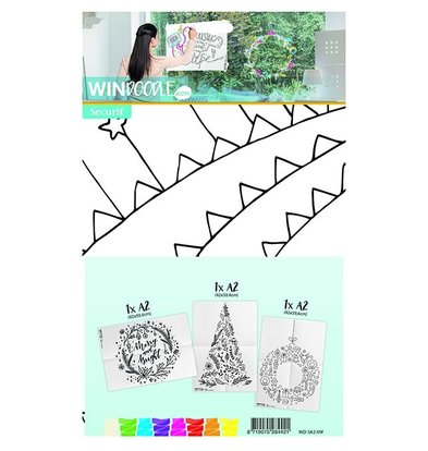 Securit Template for Window CHRISTMAS | A2 Format | Incl. Chalkstick | Set of 3