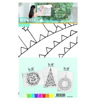 Securit Vorlage für Fenster Weihnachten | A2 Format | Incl Kreidemarker. | Set von 3