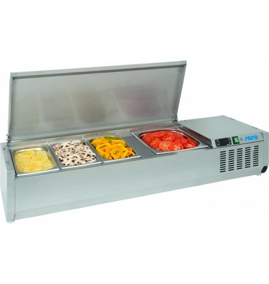 Saro Set-up refrigerator vitrine | 4x GN1 / 3 | Stainless steel lid | 1200x395x280 (h) mm