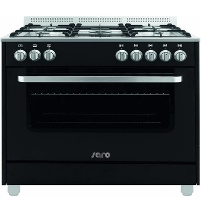 Saro Gas cooker 5 Pits + Electric Oven Black | 230V | 900x600x850 (h) mm