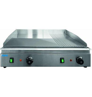 Saro Grillplaat Elektrisch | 3.5kW / 230V | Chromen Bakplaat 2/3 Smooth 1/3 Ribbed