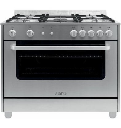 Saro Gas cooker 5 Pits + Gas Oven Silver | 230V | 900x600x850 (h) mm