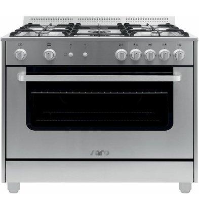 Saro Gasfornuis 5 Pits + Gas Oven Zilver | 230V | 900x600x850(h)mm