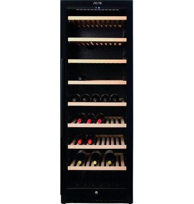 Saro Wijnkoelkast Zwart | 1 Klimaatzone | 8 Houten Roosters | 595x710x1720(h)mm