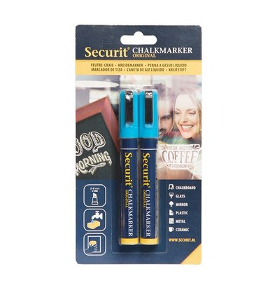 Securit Set von 2 Medium Chalk Marker | blue | 2-6mm