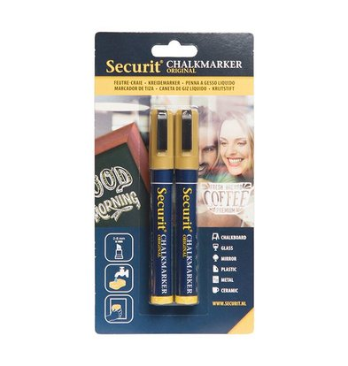 Securit Set von 2 Medium Chalk Marker | Gold | 2-6mm