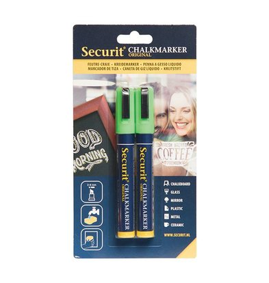 Securit Set von 2 Medium Chalk Marker | grün | 2-6mm