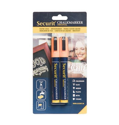 Securit Set von 2 Medium Chalk Marker | Orange | 2-6mm