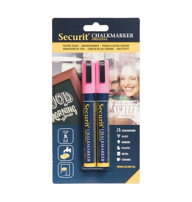 Securit Set von 2 Medium Chalk Marker | rosa | 2-6mm