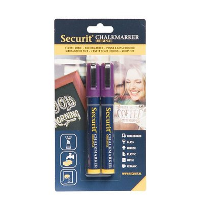 Securit Set von 2 Medium Chalk Marker | lila | 2-6mm