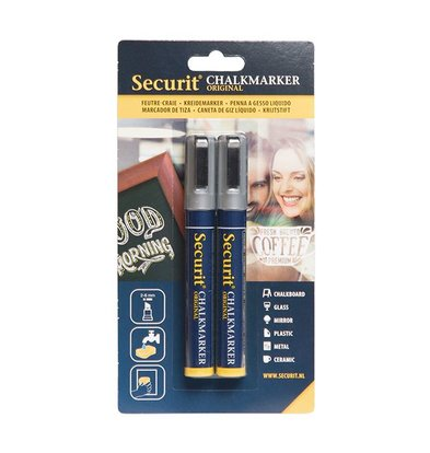 Securit Set von 2 Medium Chalk Marker | Silber | 2-6mm