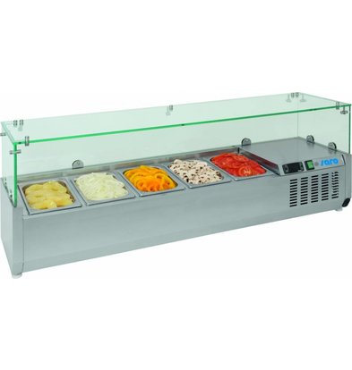 Saro Set-up refrigerator vitrine   7x GN1 / 3   Stainless steel lid   1600x395x280 (h) mm