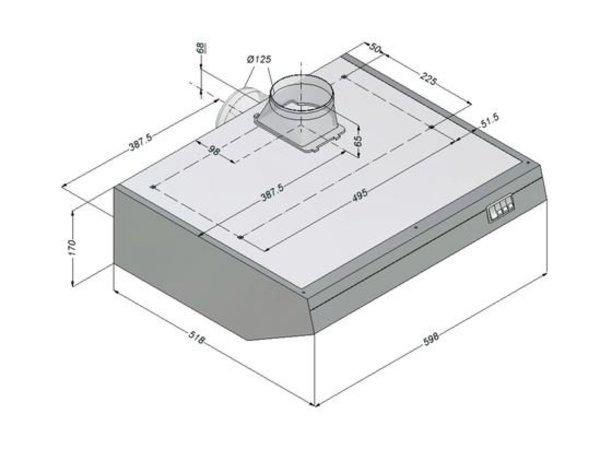 Bartscher Novy Haube einschließlich Motor und Licht | 600x52x (H) 170mm
