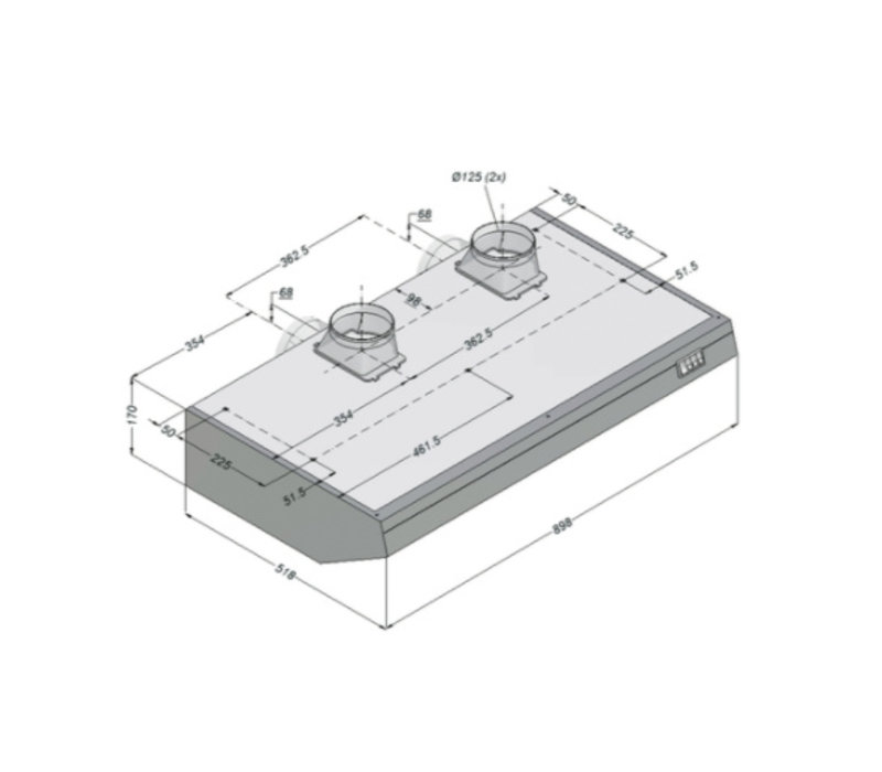 Bartscher Novy afzuigkap Inclusief Motor en Verlicht | 900x520x(h)170mm