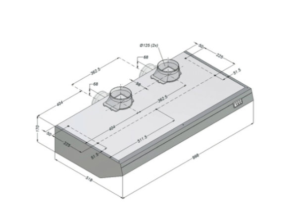 Bartscher Novy Kapuze Inklusive Motor und beleuchtet | 1000x520x (H) 170mm