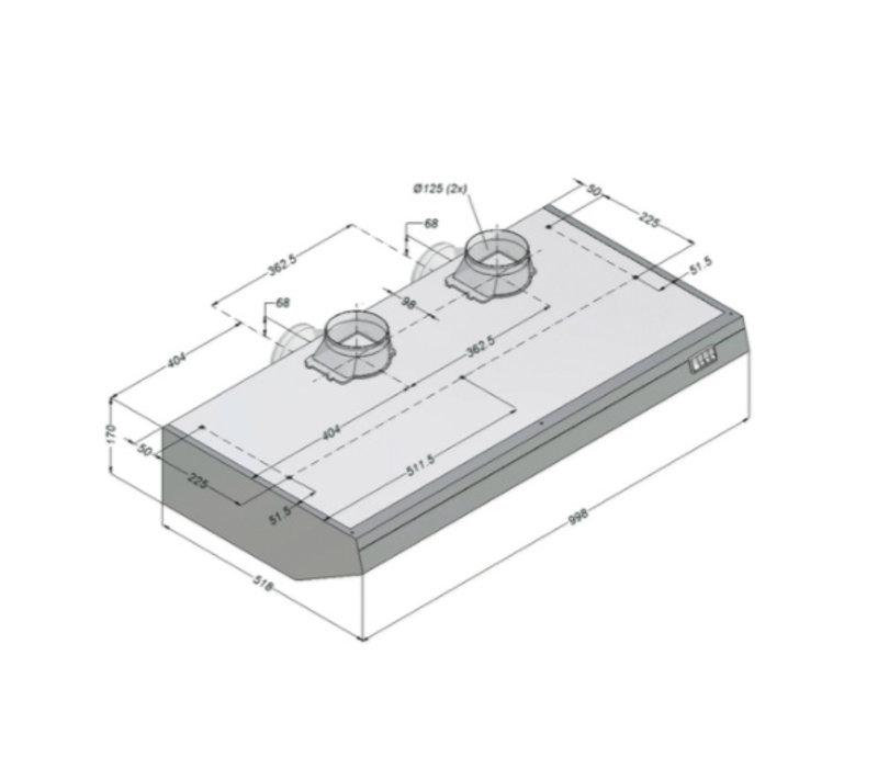Bartscher Novy afzuigkap Inclusief Motor en Verlicht   1000x520x(h)170mm
