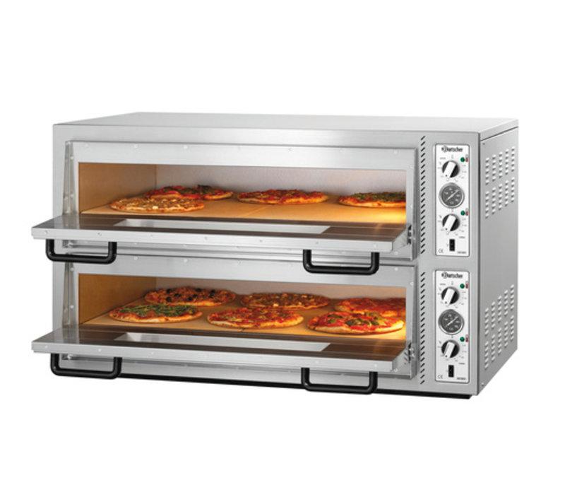 Bartscher Pizzaoven Dubbel Elektrisch | 2 x 6 Pizza's Ø30cm | 400V | 12kW | 1210x830x(H)770mm