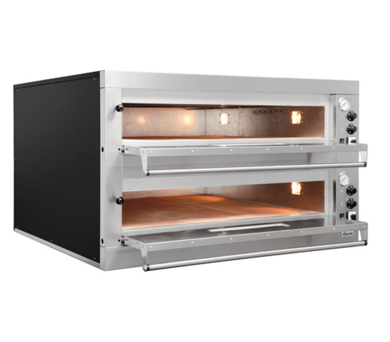 Bartscher Pizza Oven Double Electric | 2 x 9 pizzas Ø33cm | 400V | 24kW | 1310x1270x (H) 760mm