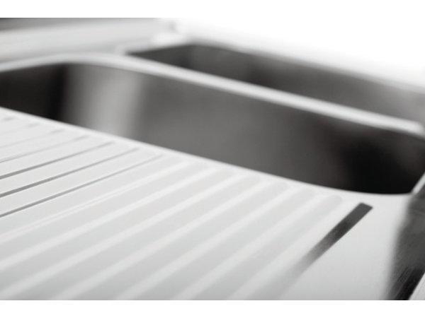 Bartscher RVS Spoeltafel - 2 Bakken 500x500x250(h)mm - 1800x700x850-900(h) - ZEER LUXE Scotch-Brite Gepolijst