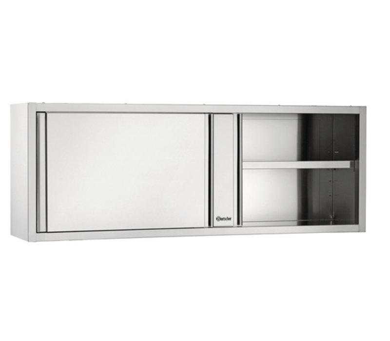 Bartscher Kleiderschrank Edelstahl - mit 2 Schiebetüren - Zwischen 1 verstellbarer Boden | 1800 (B) | 400 (D) | 660 (H) mm