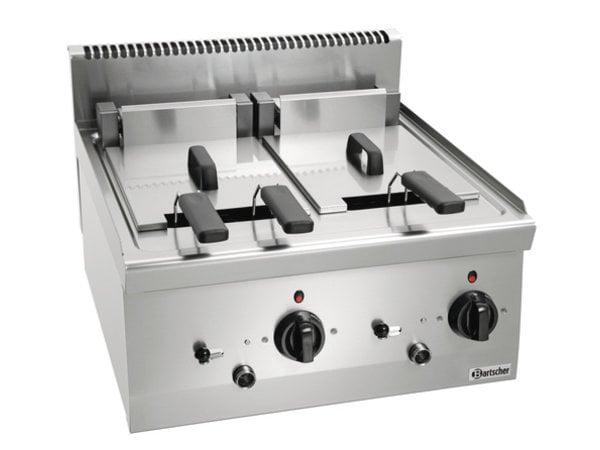 Bartscher Fritteuse   Mit Uidraaibaar Durchlauferhitzer   2x8 Liter   Serie 600   400V   12,6kW   600x600x (H) 290 mm