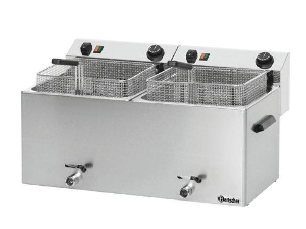 Bartscher Elektrischen Doppel Fritteuse | Mit Ablassventile 2 x 10 Liter | 400V | 16,2kw | 750x450x (H) 375 mm