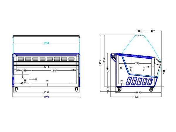 Combisteel Scoop Eis Anzeige Hawai   16x 5 Liter   1195x1590x1335 (h) mm