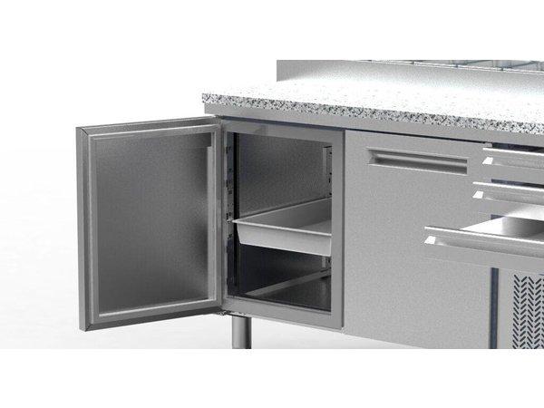 Diamond Pizza Koelwerkbank RVS | 3 Deurs | 3 Laden | 400W/230V | 2110x700x880/900-1200(h)mm