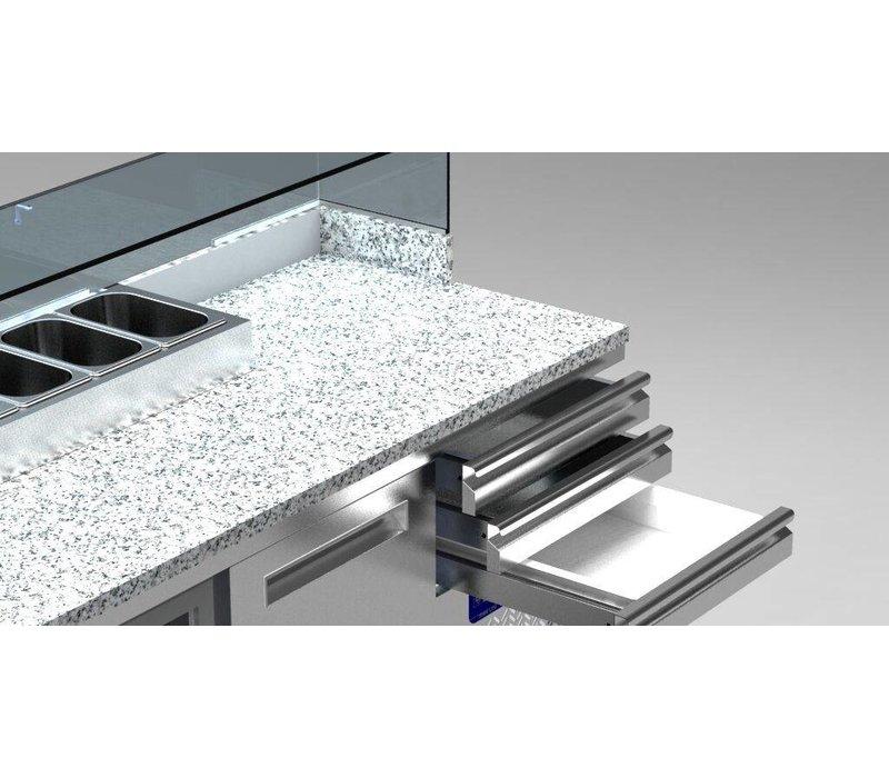Diamond Refrigerated pizza Workbench SS | 3 Doors | 3 Loading | 400W / 230V | 2110x700x880 / 900-1200 (h) mm