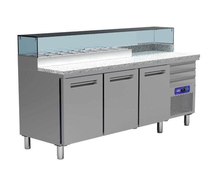 Diamond Kühlpizza Workbench SS | 3 Doors | 3 Loading | 400W / 230V | 2110x700x880 / 900-1200 (h) mm