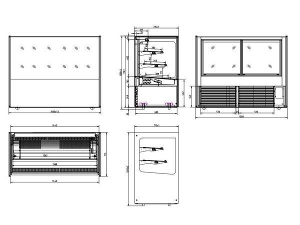 Polar Displaying Koelvitrine XXL - Stainless Steel - 500 liter on Wheels - 150x71x (h) 120cm - WATCH VIDEO