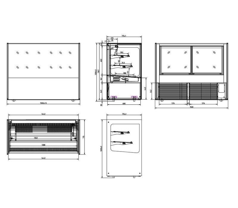 Polar Display Koelvitrine XXL - RVS - 500 Liter- op Wielen - 150x71x(h)120cm - BEKIJK VIDEO