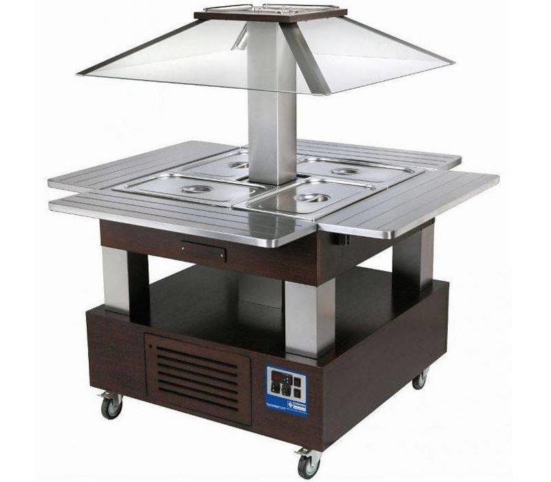 Diamond Bain Marie Refrigerated Island - Buffet Cooling 4 x 1/1 GN Wenge Wood