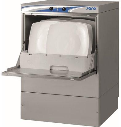 Saro Spülmaschine Horeca Doppelwandig | Hergestellt in Europa 50x50cm | Glasur + Seifenspender + Ablaufpumpe + Schmutzfilter | 230V