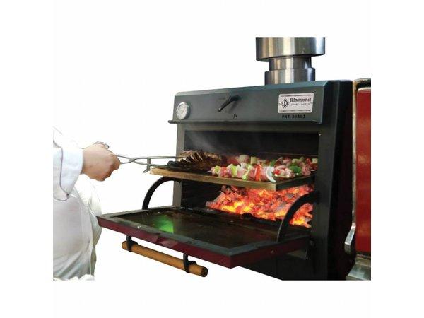 Diamond Houtskool Oven - BBQ | GN1/1+ GN2/4 | 75kg/uur | 800x675(990)xh690mm