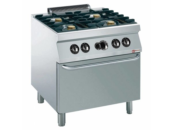 Diamond stove | 4 burners with gas oven | 5.5 kW | 800x700x (h) 850 / 920mm