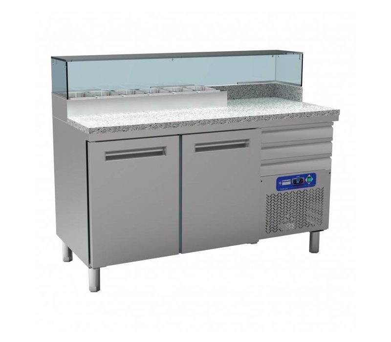 Diamond Refrigerated pizza Workbench SS | 2 Doors | 3 Loading | 400W / 230V | 1590x700x880 / 900-1200 (h) mm
