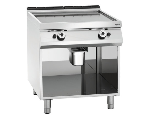 Bartscher Gas Fry Top Smooth - 90x90x (H) 85-90 cm - Open substructure - 13.8 KW