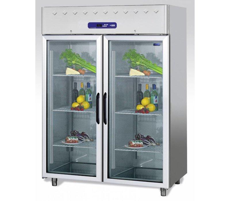 Diamond Glass Door Refrigerator Stainless Steel 1400 Liter