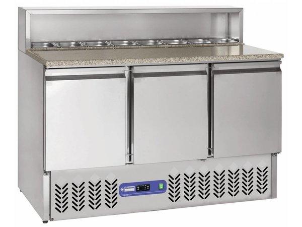 Diamond Pizza Workbench - Stainless Steel - 3 door - 137x70x (h) 110cm - 8 x 1/6 GN