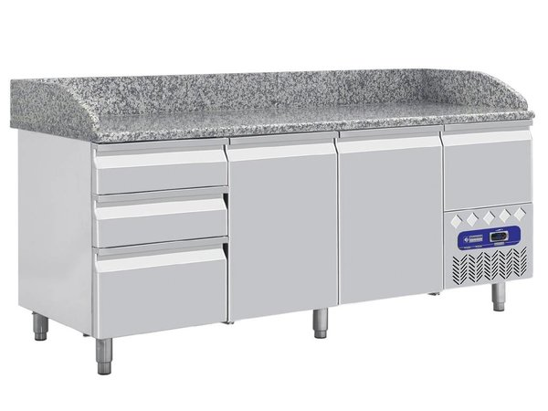 Diamond Pizza Workbench 3 doors with 3 drawers - 198x72x109cm - Marble worktop