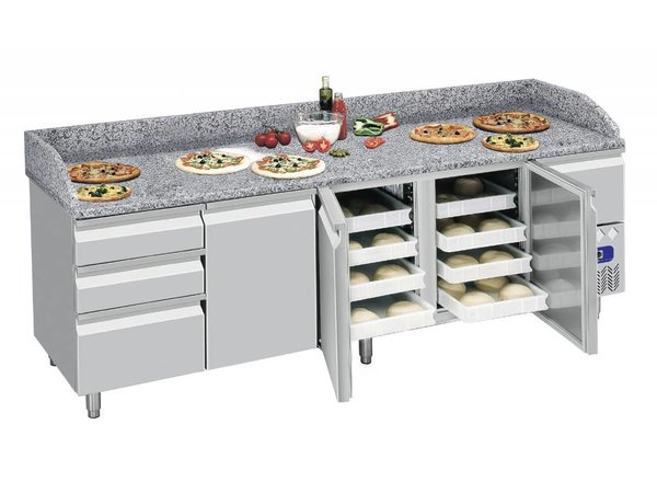 Diamond Pizza Workbench 4 Türen mit Schubladen - 249x72x109cm - Marmorplatte