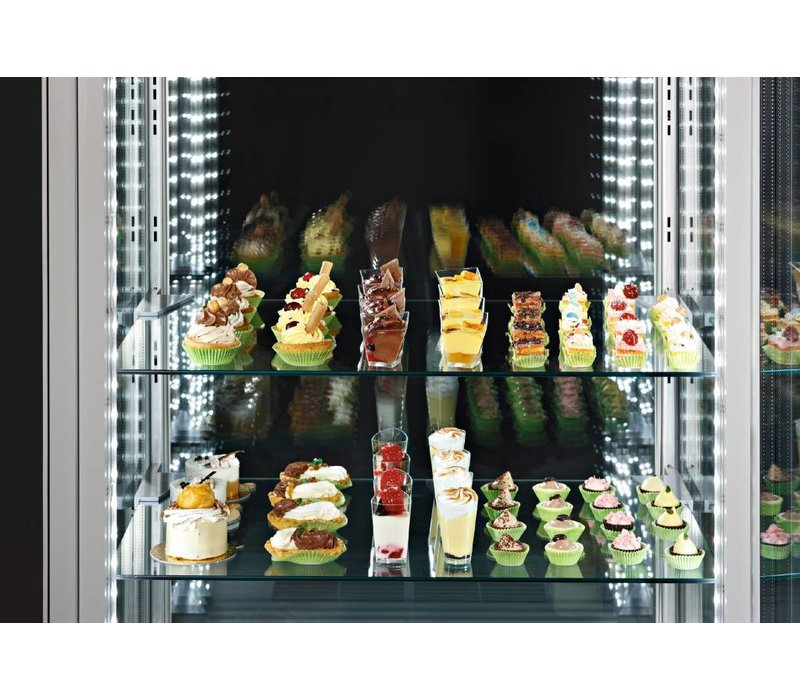 Diamond Refrigerated display case Deluxe 5 levels 490 Liter +2 - +10 degrees - 80x65x184cm - made in Italy